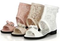 Free Shipping 2014 Hot Sale Fashion lace cutout princess bow flat children sandals