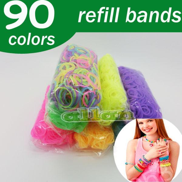 Good quality Loom Kit DIY Wrist Bands rubber band Loom Bracelet for kids 90 Colors(China (Mainland))