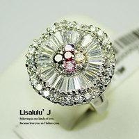 18K GP Fashion Flower Ring Multi-Colored Crystal R109 Free Shipping
