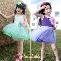 Free shipping  Girls  Dresses  Summer new  Yarn Puff Girls Dresses  Princess dress dress  Lace  Splice