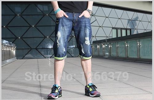 Destroyed Jean Shorts Mens Men Jeans Torn Destroyed