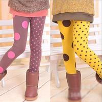 Retail hot sale girls spring autumn skinny leggings kids fashion AB side dot legging 1099