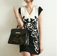 2014 summer new Slim thin big yards women's V-neck printed chiffon dress