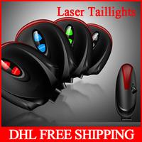 100pcs / lot New design Waterproof 2 Laser 7 Modes Tail Light Mountain Bike Safety Warning Led Rear Bicycle Light