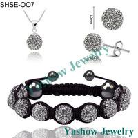 Yashow Jewelry, New 10mm Balls Shamballa Set Crystal Earrings/Crystal Necklace Pendant/Bracelet Jewelry Sets Mix Colors Options