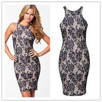 New Fashion renda Vintage Dress Lace Overlay Sleeveless Formal cocktail summer Mini dresses 2014 vestido de festa curto