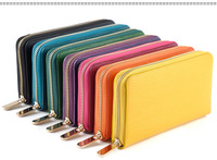 free shipping 2014 new fashion business men lady colorful genuine leather cow leather long wallet money purse zipper striped
