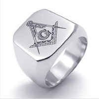 Silver Men's Jewelry Freemasonry Free Mason Masonic Stainless Steel Finger Ring Men's Jewelry US Size 7-13