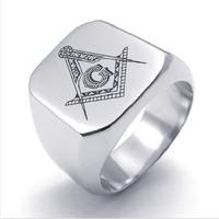 Silver Men's Jewelry Freemasonry Free Mason Masonic Stainless Steel Finger Ring Men's Jewelry US Size 7-13