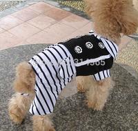 Black&White Stripes Dog Clothing Pet Four-Legged Jumpsuit,Pet Gentleman dress  2-6 Sizes Available