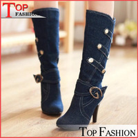 Big size 32-43 New women spring autumn  fashion Half boots denim thin heels buckle strap solid  black  blue lightblue  QH3043