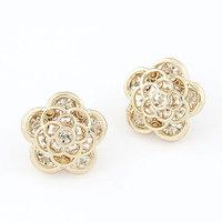 New 2014 Fashion Korean Sweet Rose OL Flower Stud Earrings For Women brincos Accessories fashion jewelry Wholesale