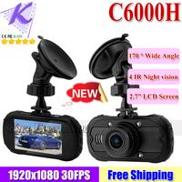 2014 New Novatek 96650 Car DVR C6000H support 1080P FULL HD + 170 Degree Wide Angle + Super Night Vision + 5.0MP CMOS Sensor