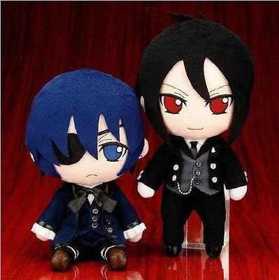 "Cosplay Set of 2 Black Butler Phantomhive Kuroshitsuji Ciel and Sebastian figure Stuffed Plush Toy Doll Set 9"" Plush Soft Toys(China (Mainland))"