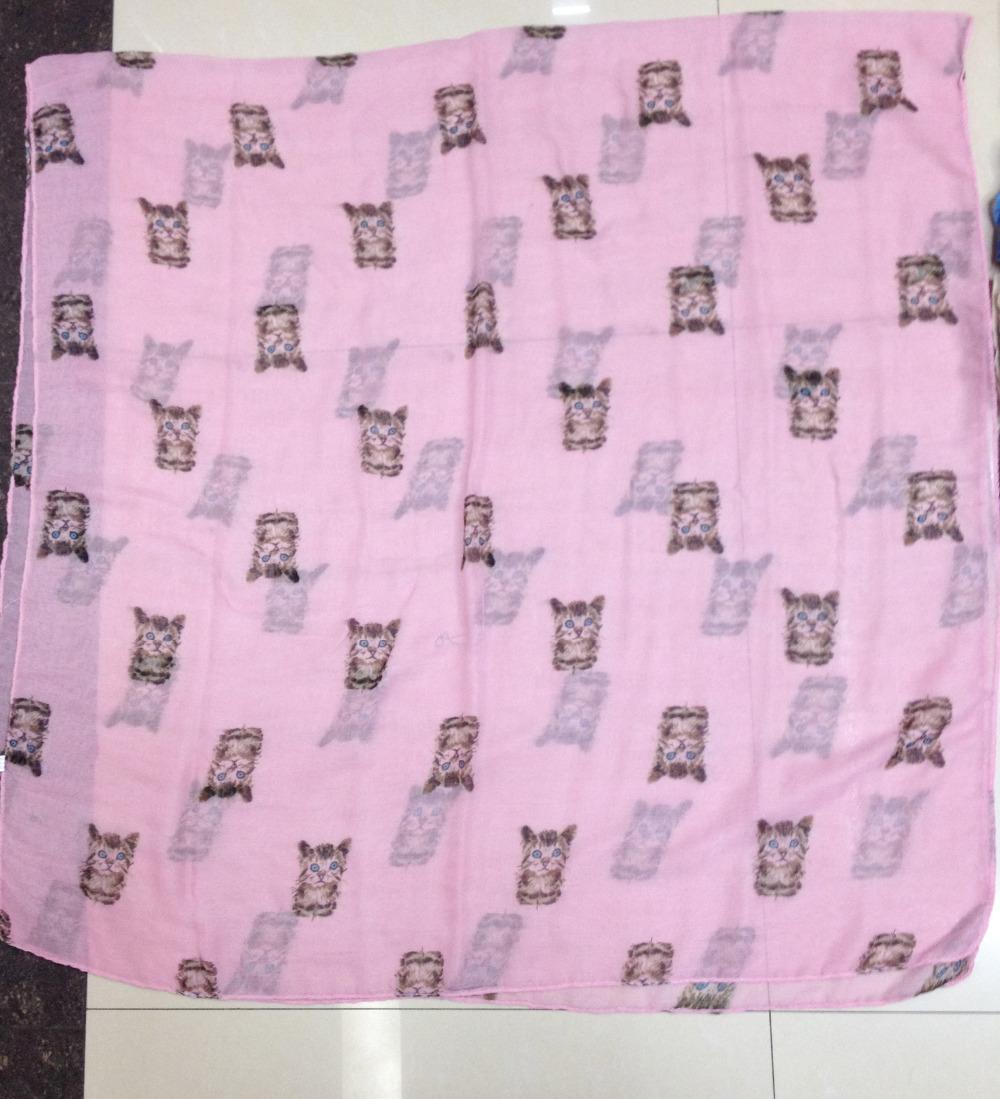 2014 New  Animal Scarf 10pcs/Lot Small Cute Cat Print Shawl Scarf Free Shipping Oversize Women Scarf(China (Mainland))