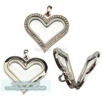 5Pcs DIY Metal Glass Heart Shape Pendant Living Memory Floating Necklace glass locket Charms