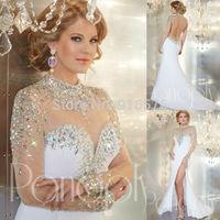 2014 High Neck Long Sleeve Prom Dress Evening Dresses Slight Mermaid Hem Side High Slit 2014 With Rhinestones
