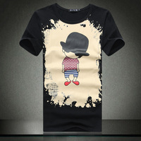 Free shipping 2014 new fashion mens cartoon cotton slim plus size M-6xl t-shirt men
