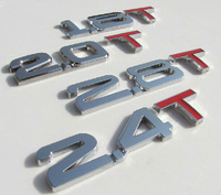 by DHL 100pcs 3D chrome alloy 1.8T 1.6T  3.0T 2.8T 2.4T 2.2T boot rear badges metal car decal emblems for VW Ford Hyundai STO