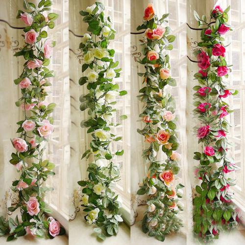 2.5 M Artificial de ROSE Fake flor hoja de hiedra Garland plantas decoración de boda(China (Mainland))