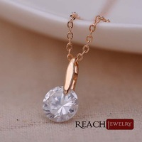 T90114 Fashion Women Jewelry Round Pendant Necklaces White Topaz Hearts and arrows CZ Stone