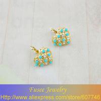 IZZ01368-1 18K Gold Filled Turquoise/pearl heart pendant earrings  2pcs/lot