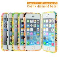 Tribe design diamond aluminum frame for iphone 5 5s 5g shinning  bling bumper for Apple iphone 5s 5g 5 phone bag