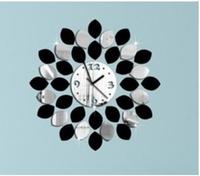 100sets/lot fedex fast big leaf black and silver wall clock modern design luxury mirror wall clock,3d crystal mirror wall clocks
