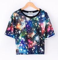 2015  HARAJUKU tie dye star print tees short sleeve crimping loose novelty polka dot t shirt madal hip hop clothing