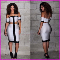 2015 Top New Two Pieces Women Bandage Bodycon Dress Lady's White And Black Patchwork Spandex Sexy Backless Dress A5733