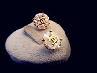 18k gold plated circular genuine Austrian crystal flower earrings 800075