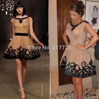 Sexy 2014 Gossip Girl New Kim Kardashian Black Beaded Scoop Neck Cap Sleeve Short Celebrity Dress Vestido Cocktail Dresses 2014
