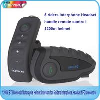 Free Shipping!!!2014 new 1200M BT Bluetooth Motorcycle Helmet Intercom for 5 riders Interphone Headset NFC/telecontrol