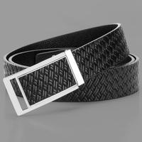 Male strap belt smooth buckle strap formal black genuine leather all-match belt