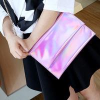New Stylish Hologram clutch Bag Women envelope Handbag laser Fashion bags Designer Brand Shoulder Chain Bag Bolsos