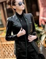 Fashion OL coats 2014 spring and autumn women's leather clothing slim plus size women's small leather jacket leather coat