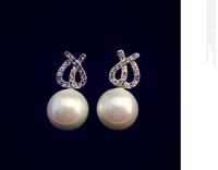 European style high-grade hypoallergenic Austrian crystal bow earrings natural pearl earrings 802125