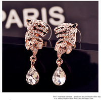 European-style personality wild exaggeration 18k Plated Leopard Head droplets earrings E9090