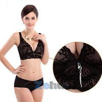 Women Push-up Embroidered Tulle Flower Bra Solid Under Wire Lace Brassiere A B C Free Drop shipping