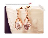 European popular rectangular droplets aristocratic temperament super flash zircon earrings Austrian crystal jewelry E9074