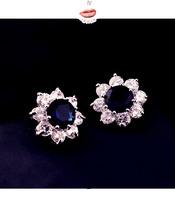 2014 Korean version of the new high-quality sapphire flower earring sparkling zircon earrings hypoallergenic E9060