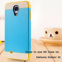Top Quality New 2014 Three In One NX TPU Phone Case Back Cover For Samsung I9500 Galaxy S4, 1/lot, Free Shipping, cas-SHY-5