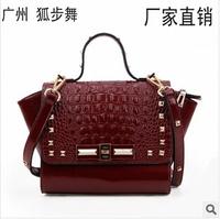 2014 new burgundy handbag for woman luxury rivet real leather handbags fashion shoulder bag black