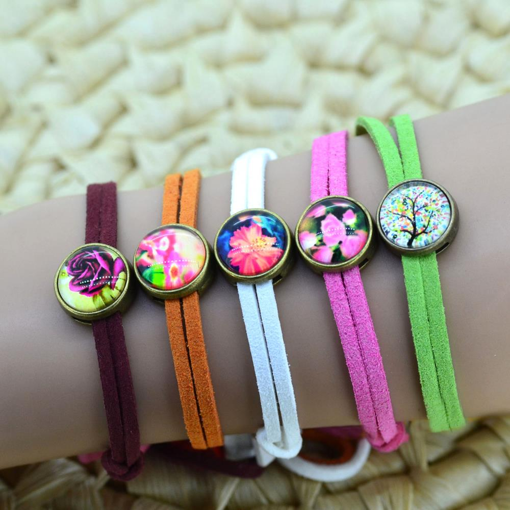 Lovely Suede Leather Bandage Bracelet Tree Flower Butterfly Cabochon Bangle Adjustable FOR Adults Children