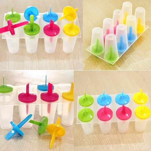 Plastic 8 Freezer Popsicle Yogurt Ice Cream Maker,Ice Pop Lolly Maker Mold,Free Shipping(China (Mainland))