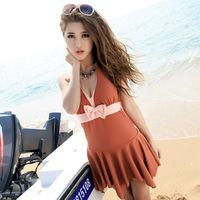 2014 Summer swimwear Women fashion brief solid color one piece skirted swimsuit swimdress XL