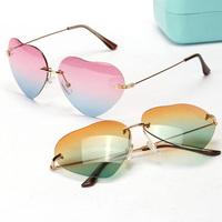 Free shipping 2014 New Fashion glasses Women Fashion Color Focus Sunglasses heart-shaped rimless summer 4 colors glasses