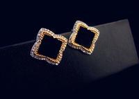 Korean fashion luxury crystal jewelry flower earrings temperament black high-grade hypoallergenic earrings 802528