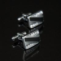 Promotion !! Black Enamel Silver Unique Design Cuff Link Zircon Crystal Cufflink Exquisite Men's Sleeve Nail
