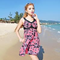 New 2014 one-piece  Plus size Swimdress Girl Women Underwire Plus Size swimwear Large Size  Swimsuit